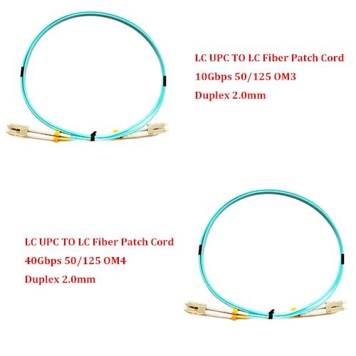 Cable de conexión de fibra óptica multimodo Duplex 1,0 MM 10 piezas 50/125 metros LC UPC a LC UPC 10Gbps OM3/40 Gbps OM4 mm 2,0