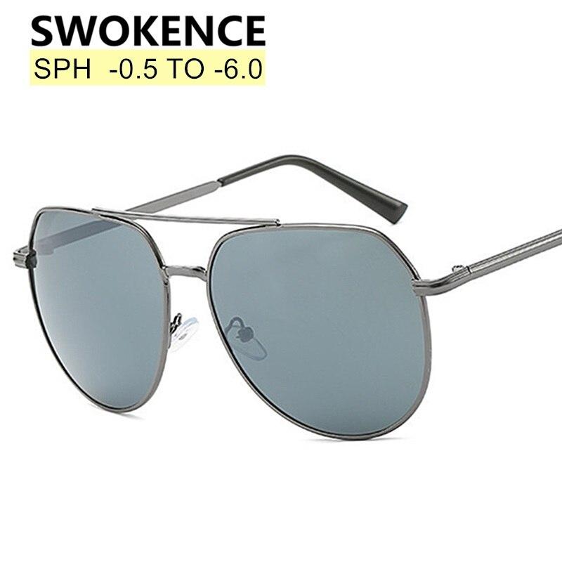 SWOKENCE Prescription Sunglasses SPH -0.5 to -6.0 Myopia Glasses Men Women Alloy Frame Nearsighted S