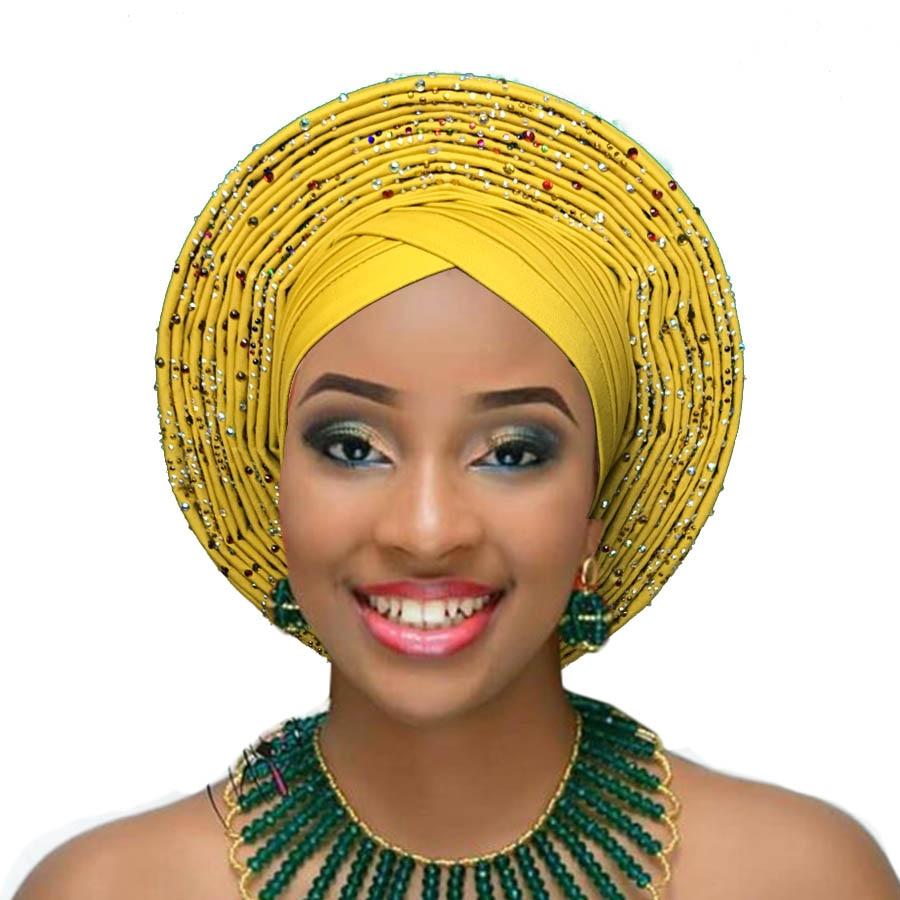 ربطة الرأس الأفريقية رصع النيجيري Aso Oke السيارات Gele Ebi جميلة عمامة أغطية الرأس عقال