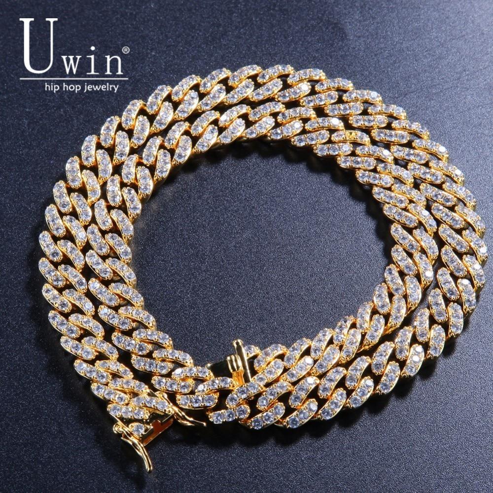 Uwin-قلادة رجالية على الطراز الكوبي ، عقد تشيكوسلوفاكيا بانك ، مجوهرات هيب هوب ذهبية اللون ، مجوهرات للرجال ، 9 مللي متر