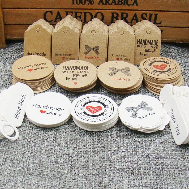 52000pcs hang tag DIY hot sale 3x2cm/3x3cm round shape handmade style tag stock