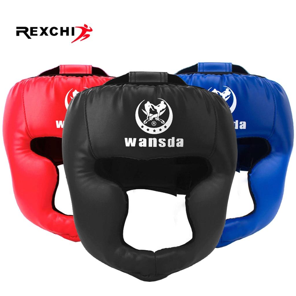 REXCHI Kick casco De Boxeo para hombres y mujeres PU Karate Guantes De Muay Thai De Boxeo Lucha Libre MMA Sanda entrenamiento adultos niños equipo