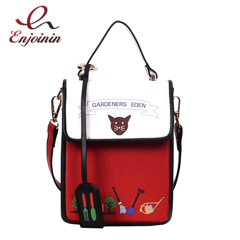 Mini bolso de hombro de moda Casual de cuero de Pu con patrón de dibujos animados de gato negro y rojo, bandolera, Mini bolso de mensajero femenino con solapa