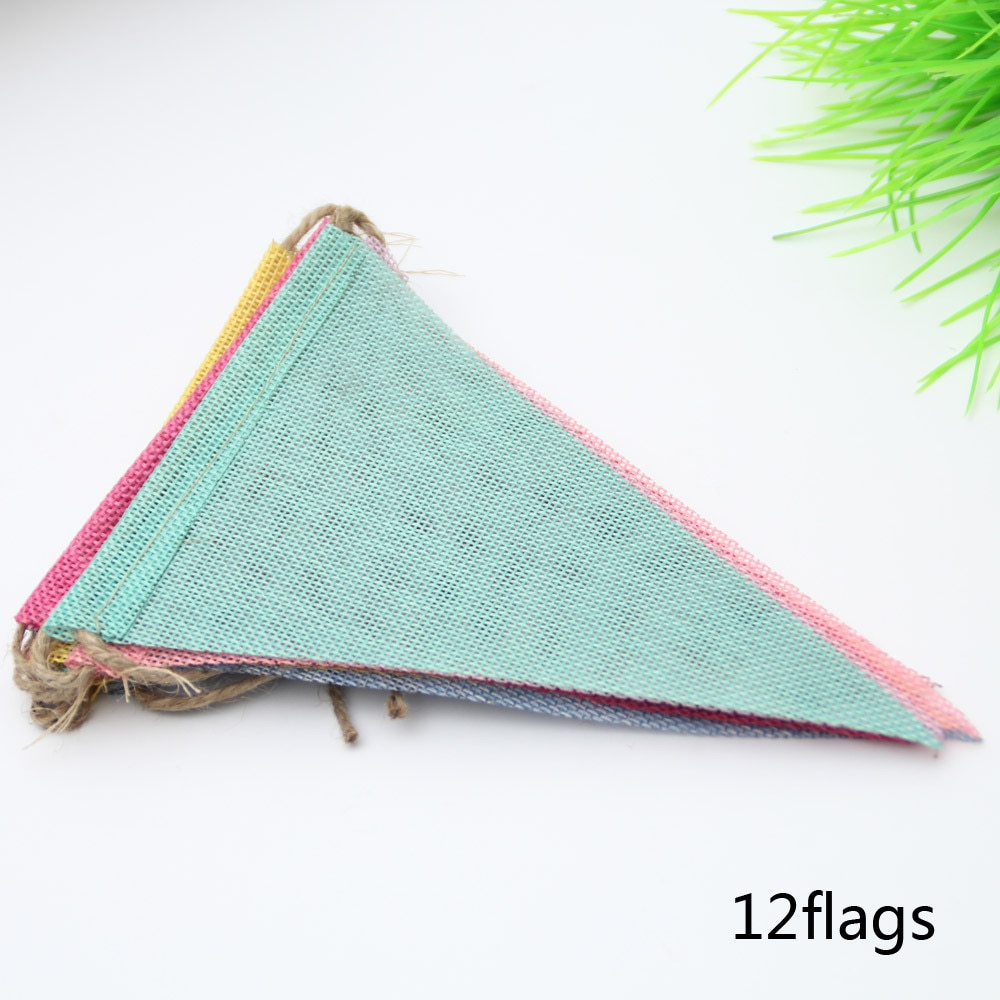 4M 12 Flags Vintage Colorful Burlap Linen Bunting Flags Pennant For Happy Birthday Party Wedding Garland Decoration Candy Bar halloween pumpkin head happy carnival decoration candy bar bunting garlands party decor wedding babyshower wreath slingers