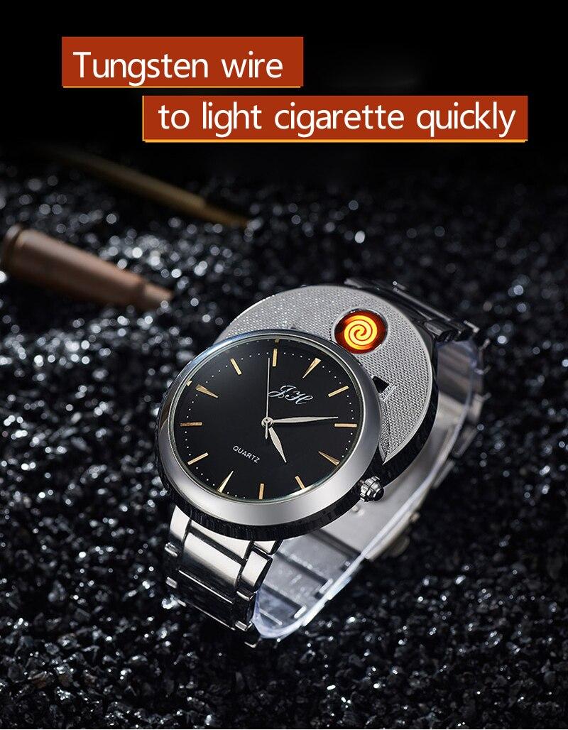 Мужские часы, креативные беспламенные часы с USB зажигалкой, мужские кварцевые наручные часы, вольфрамовый стальной ремешок для часов, сигаретные часы с зажигалкой JH329