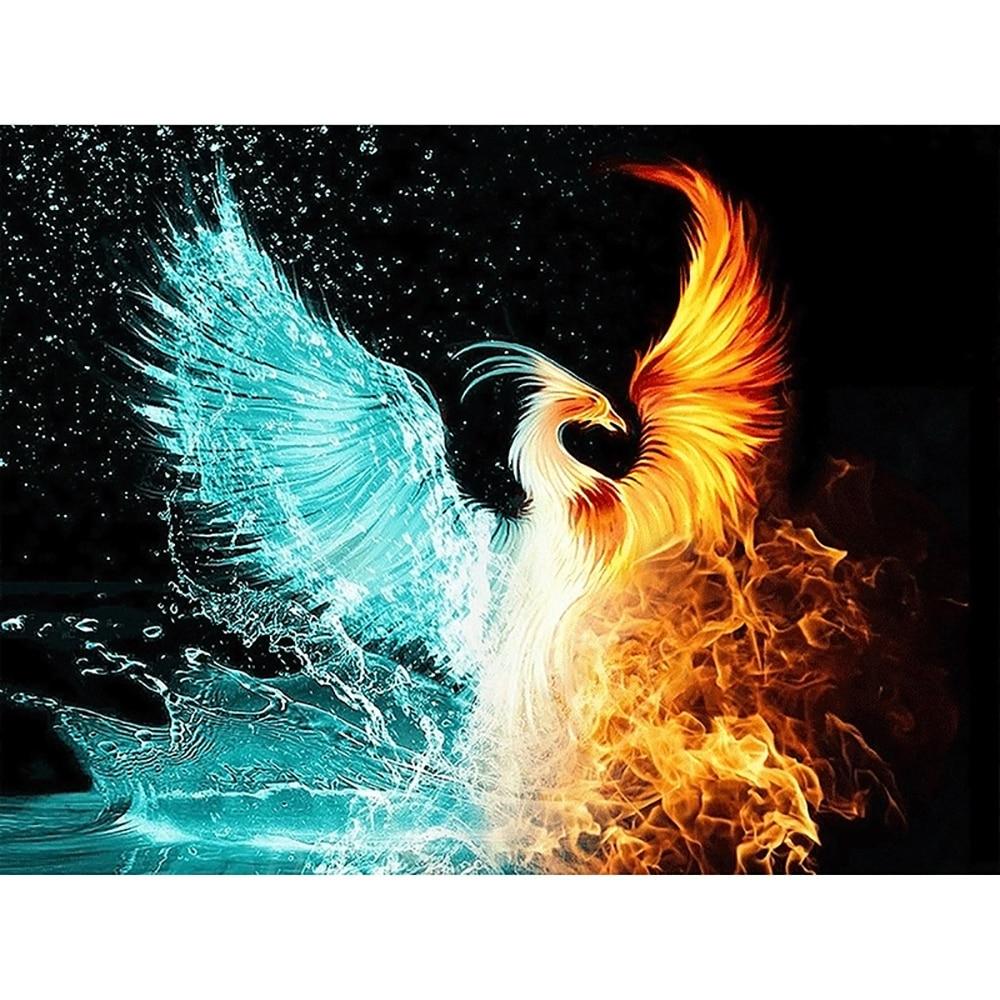 Kit de pintura de manualidades de diamantes completa Agua & fuego Phoenix punto de cruz diamante bordado diseños de animales rhinestones mosaico decoración del hogar