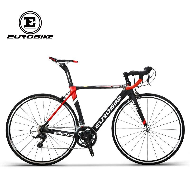 Bicicleta de carreras EUROBIKE de 50CM Cuadro De Carbono 700C, bicicleta de carretera de 18 velocidades