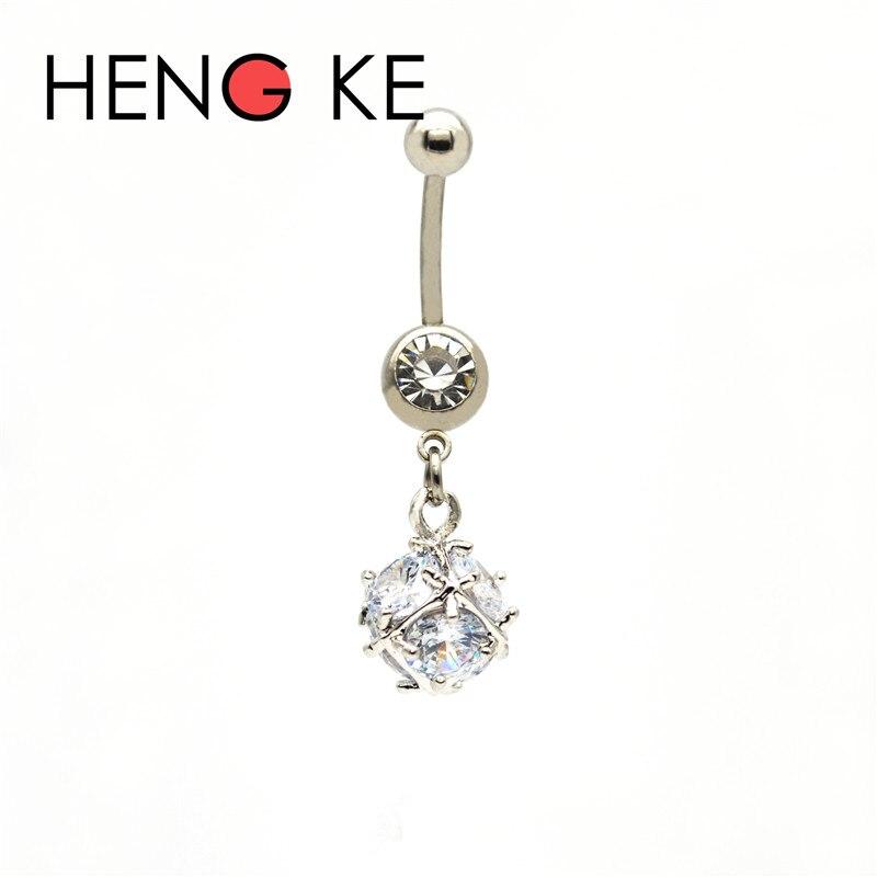 HENGKE Crystal Zircon Ball Surgical Steel belly bar Clear CZ gems 14G Dangle Navel Rings Button Beautiful Body Piercing Jewelry
