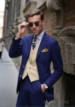 2018 nuevo padrino de muesca solapa novio esmoquin azul real Slim Fit hombres trajes boda mejor hombre Blazer (chaqueta + pantalones + chaleco)