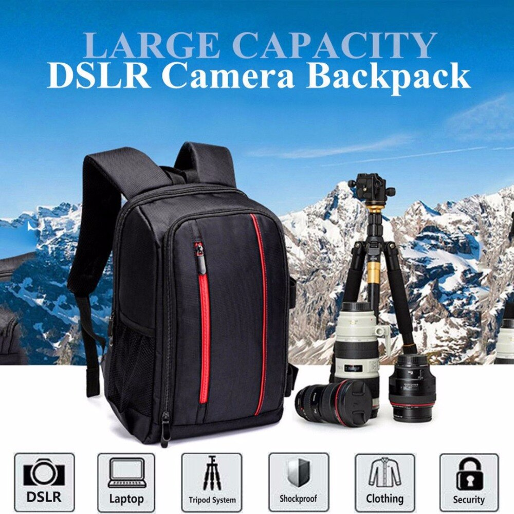 Bolsa de vídeo para cámara Digital DSLR multifuncional resistente al agua con cubierta para lluvia bolsa de cámara SLR de PE acolchada para fotógrafo