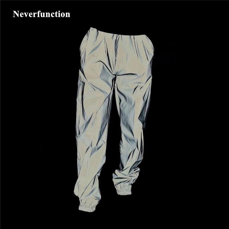 Novo homem hip hop streetwear completo reflexivo à prova dwaterproof água calças casuais skate masculino harajuku noite jogger sweatpants