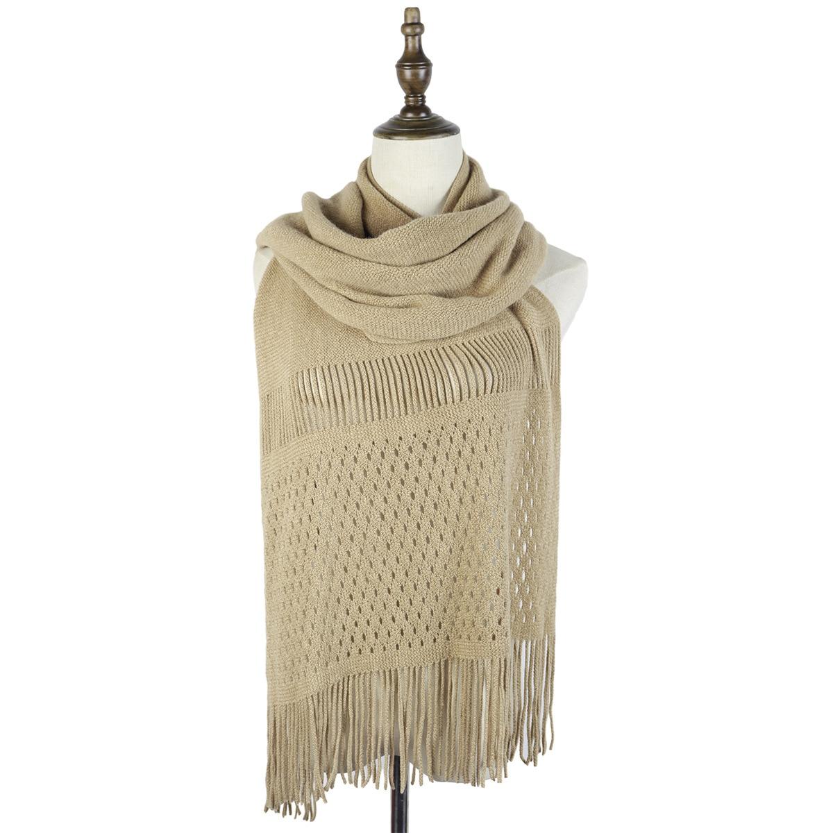 soft knit scarfs fashion women winter wraps shawls jacquard stoles capes tassels elastic soft material luxury scarfs ladies