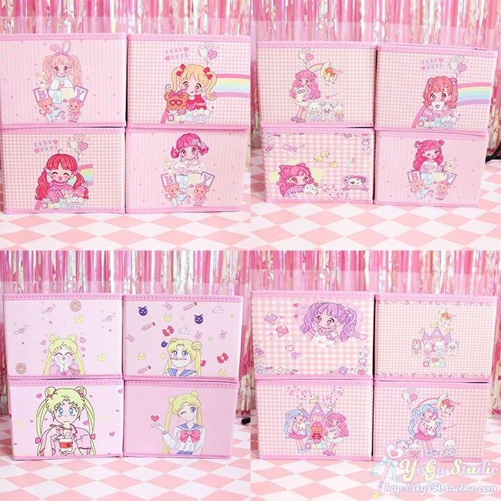 Cartoon Cute My Melody Cardcaptor Sakura Sailor Moon Girls Cosmetic Bags Make Up Bags Toy Folding Storage Box Bag Organizer