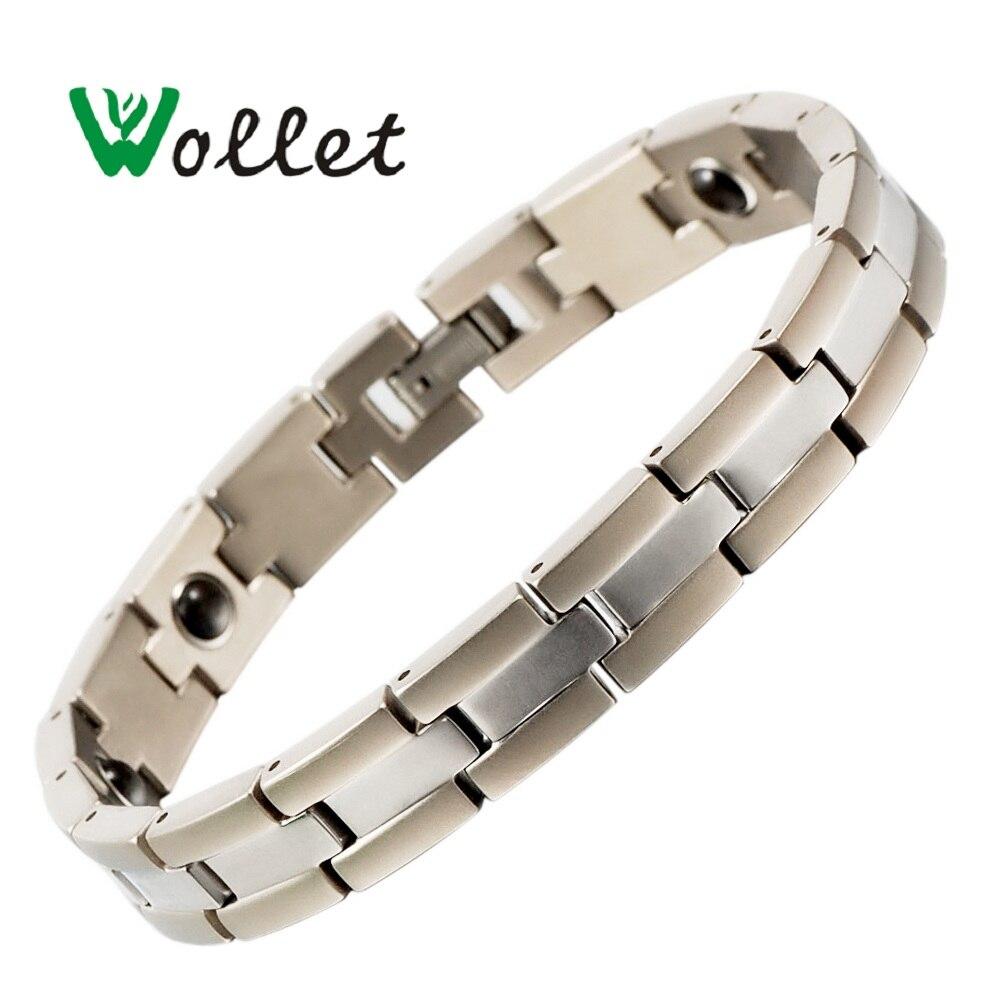 Inox Energy pareja de titanio pulseras brazaletes AFA stone cuidado de la salud joyería chapada en plata 20,5 Cm