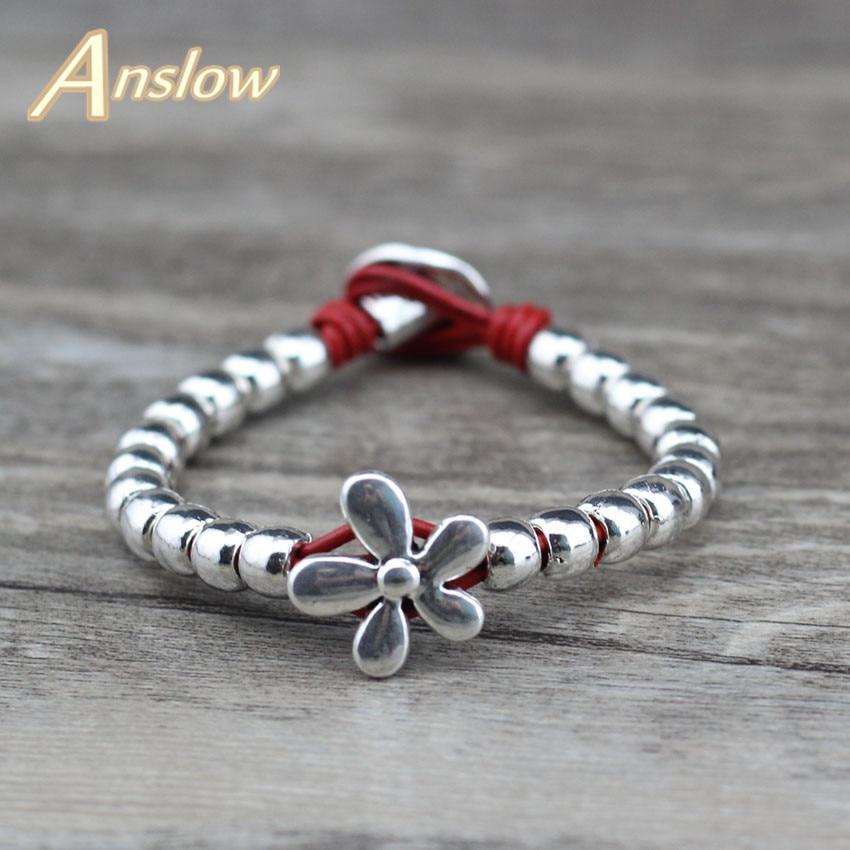 Anslow marca de moda jóias nova flor pulseiras artesanais para as mulheres grânulo pulseira melhor amizade preto sexta-feira presente low0620lb