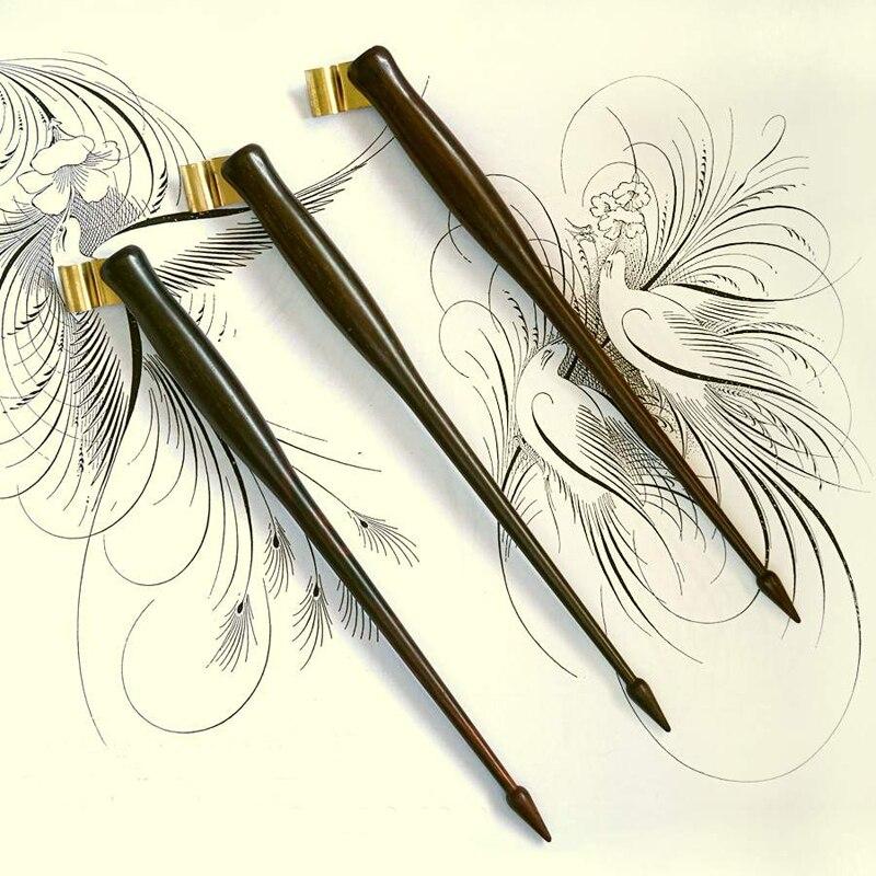 Pluma de caligrafía oblicua inglés Copperplate escritura antigua madera sólida Dip pluma titular Dip pluma
