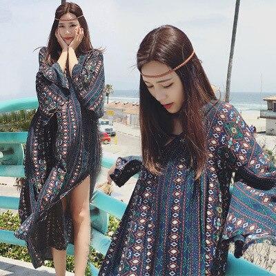 Le mât taille femmes trompette manches thaïlande longues jupes longue fourche ample plus 2019 robes en été en bohême