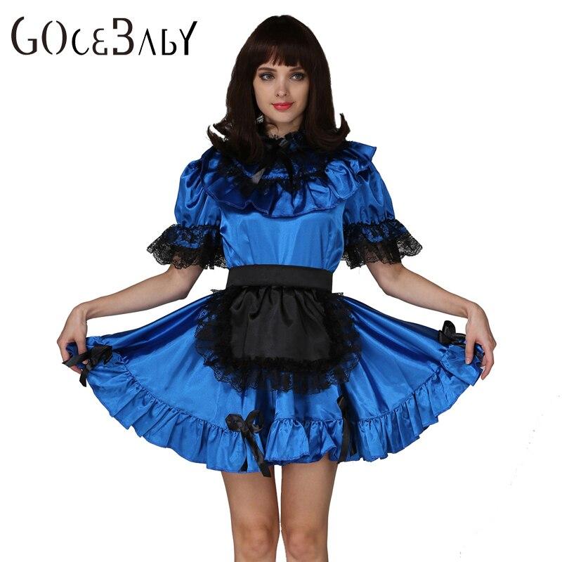 Sissy en Sissy dama cerradura azul mancha vestido disfraz uniforme Forced em Crossdressing Cosplay disfraz