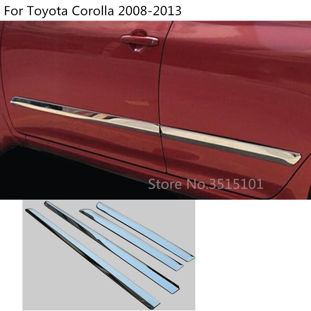 Tira de ajuste de puerta de coche moldura de acero inoxidable Stream Lamp Panel parachoques 4 Uds para Toyota Corolla Altis 2008 2009 2010 2011 2012 2013