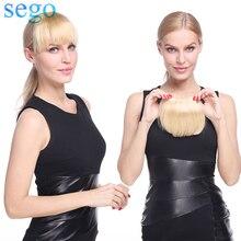 Extensions de cheveux naturels non-remy 3D-SEGO   Franges frontales lisses, couleur Blonde, 15x15cm, avec 2 Clips, 23G