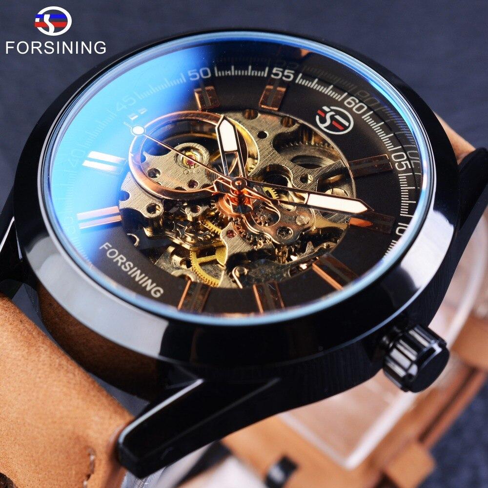 Forsining 2017 Повседневное Спорт серии Водонепроницаемый автоматический Для мужчин наручные часы лучший бренд класса люкс механический прозрачный Часы с костями