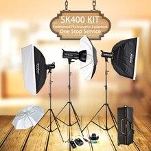 Godox sk400 3x400 w compacto photo studio flash iluminação conjunto de fotografia digital luz estroboscópica & softbox retrato kit