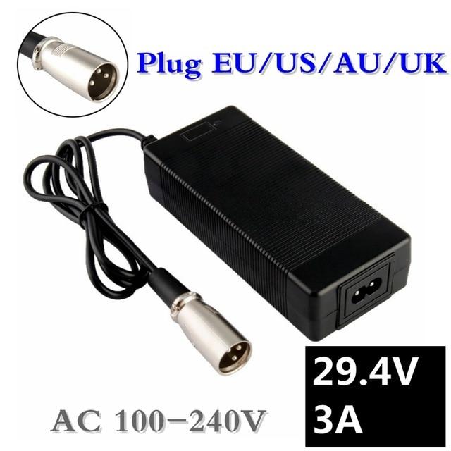 Cargador de batería de litio 29.4v3a serie 7 29,4 V 3A cargador de batería de litio de 24V Cargador eléctrico de batería de litio pac 1 Soporte para PC al por mayor