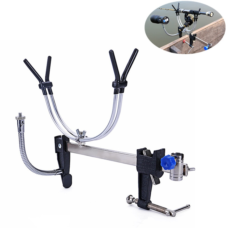 Adjustable Fishing Rod Pole Holder Bracket Rests with Lamp Frame and Bait Tray Holder