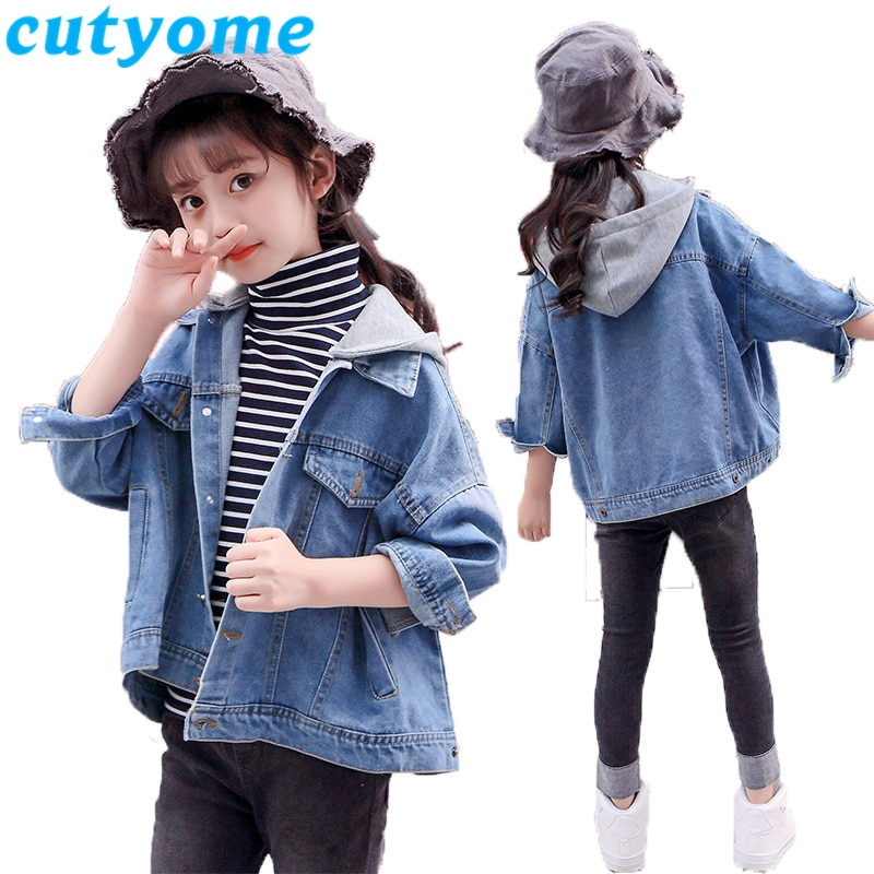 Loose Girls Hoodie Denim Jacket Children Spring Wear Clothing Casual Kids Hooded Outerwear Basic Coat Teenage Girl Jeans Jackets
