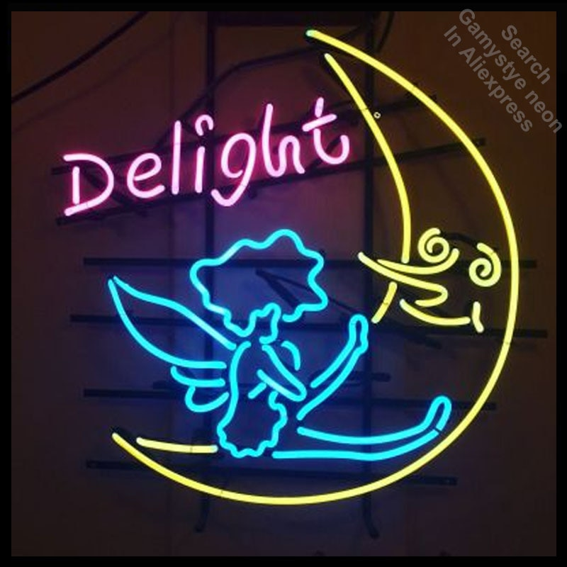 لوحة نيون مضيئة على شكل قمر وملاك ، لافتات نيون عتيقة ، أنبوب زجاجي حقيقي ، علامة بار بيرة ، حانة