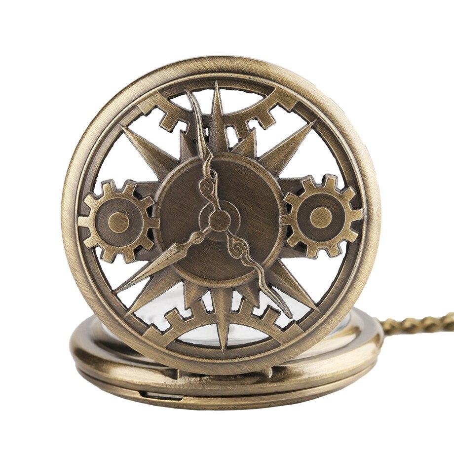 Vintage Retro bronce hueco de movimiento de cuarzo reloj de bolsillo colgante de regalo con reloj de bolsillo con cadena