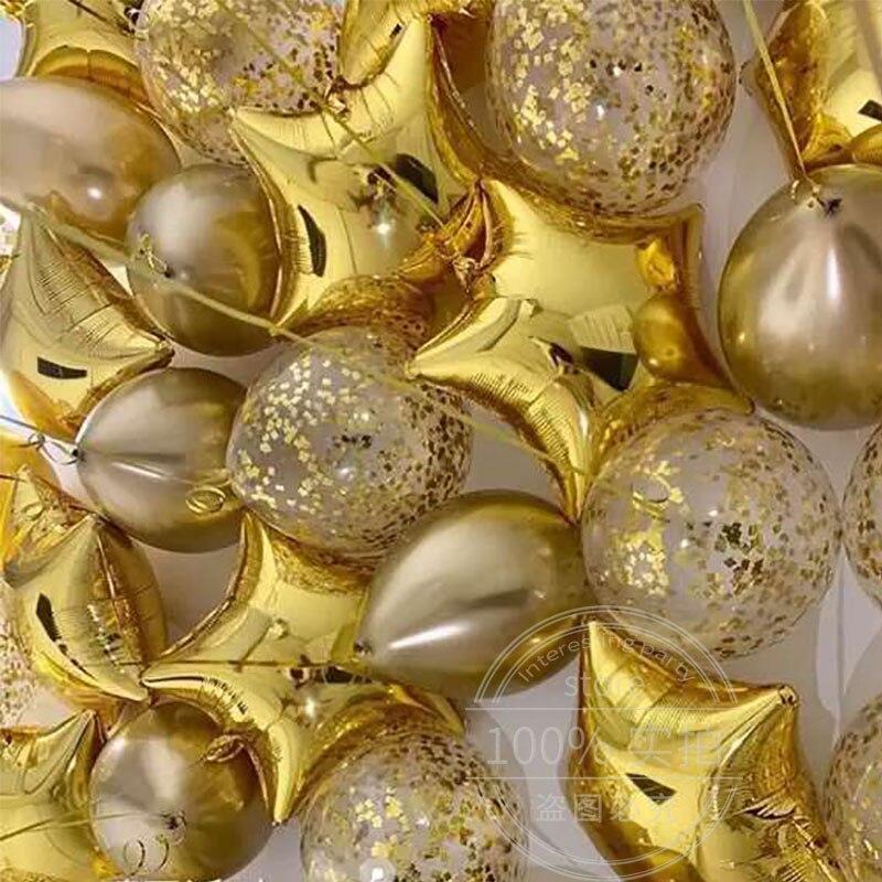 18 шт./компл. 12 дюймов металлические хромированные золотые конфетти шары 18 дюймов Звездные шары фольга гелиевые воздушные шары Свадебный декор игрушка для дня рождения