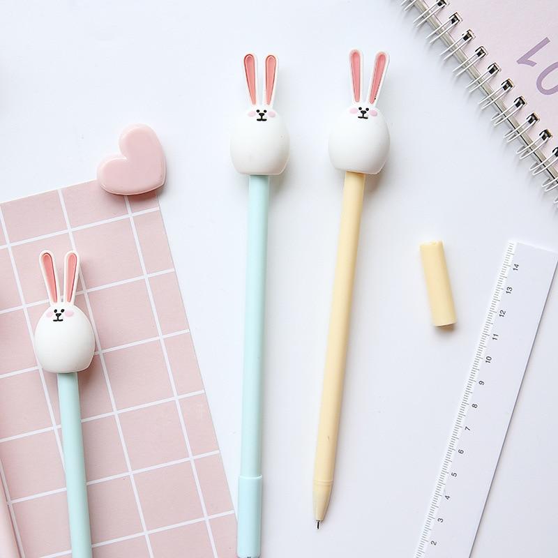 3 шт. милый кролик мультипликационная гелевая ручка 0,5 мм шариковые ручки черного цвета для письма канцелярские принадлежности для офиса и школы A6209