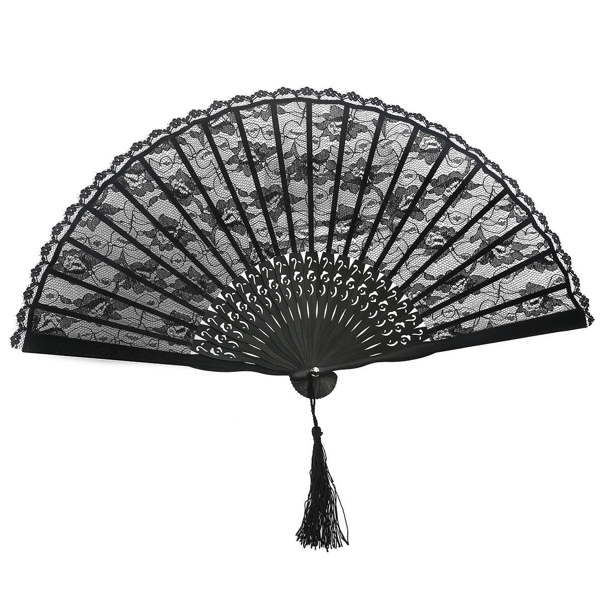 Abanico de baile español FEECOLOR, abanico victoriano para mujer, abanico plegado manual para boda, recuerdo de fiesta, accesorio de traje de baile elegante (negro)