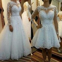 QQ Lover 2019 Detachable train Lace Appliques Pearls Bridal Gowns 2 en 1 Vestido De Noiva Illusion Ball Gown Wedding Dresses