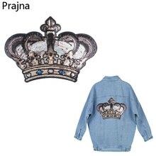 Prajna-patchs en fer sur vêtements   Patchs brodés à paillettes, Patch pour ailes couronne, Badge bande dessinée, autocollants pour vêtements, veste