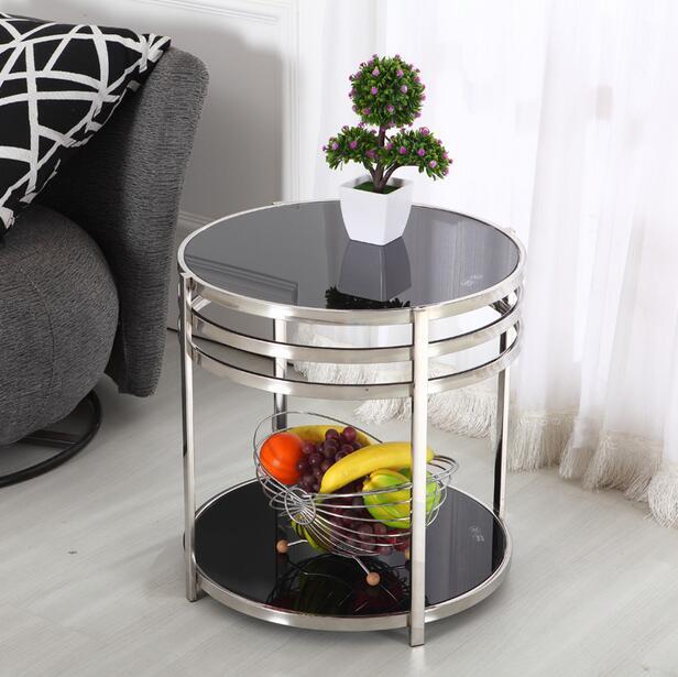Table basse en inox petite table petite double petite table basse ronde en verre côté quelques support de téléphone