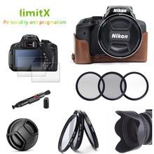 Кожаный чехол 9 в 1 с половиной корпуса, фильтр, бленда, ручка для очистки, Защитное стекло для цифровой камеры Nikon CoolPix P900 P900s