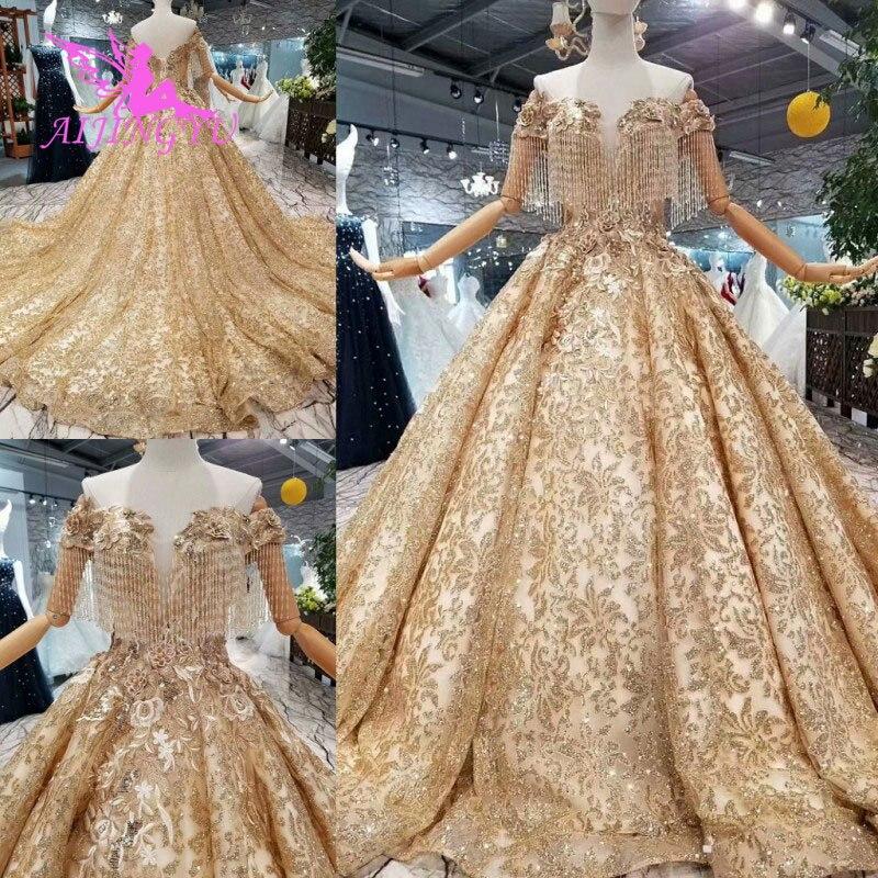 AIJINGYU-فساتين نسائية عربية جديدة ، متوفر بمقاس كبير ، على الطراز السعودي ، فستان زفاف مطرز بالترتر لأم العريس