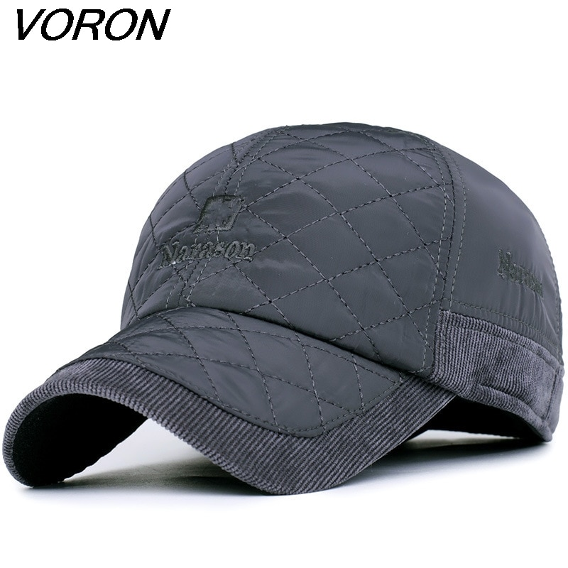 VORON 2017 Warm Winter Baseball Cap Men Brand Snapback Black Solid Bone Baseball Mens Winter Hats Ear Flaps