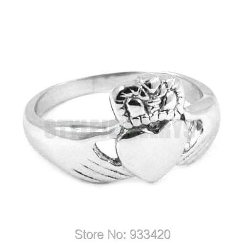 Envío Gratis estilo Claddagh, anillo de mano para sostener un corazón con corona, joyería de acero inoxidable, nudo celta, anillo de motorista para mujer SWR0311B