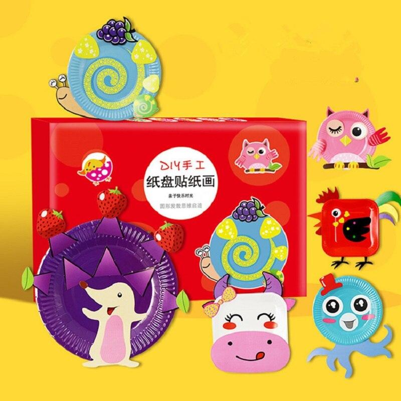 10 unids/set 3D DIY Placa de papel hecha a mano Material Kit niños arte artesanal juguetes educativos para edades tempranas
