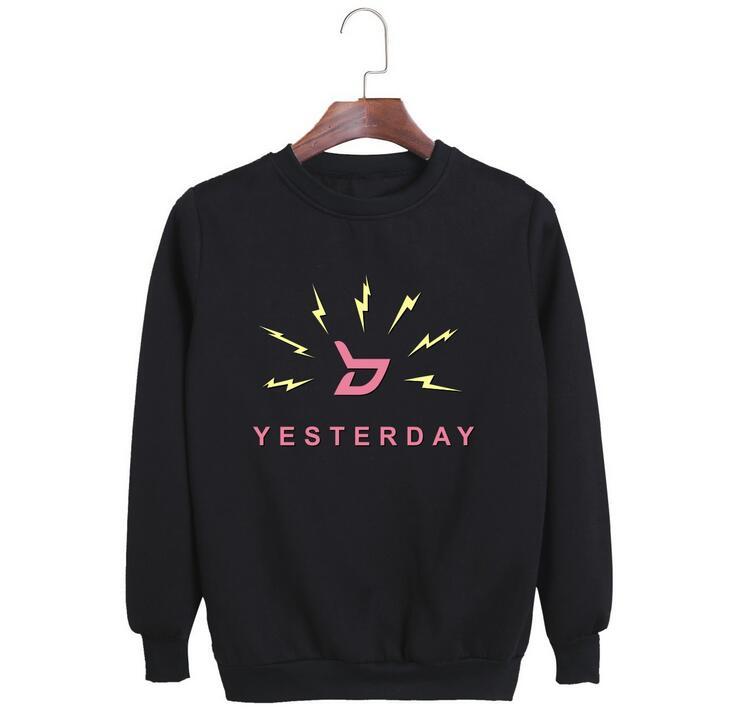 Block b nuevo álbum de ayer nombre de miembro de impresión o cuello de manga larga sudadera de moda kpop pullover hoodies