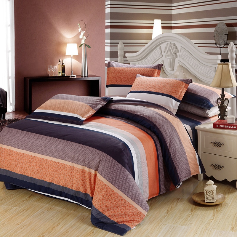 Naranja gris negro rayas beddding conjunto doble completo ropa de cama tamaño king de lino funda de edredón funda nórdica de la hoja de cama fundas de almohada