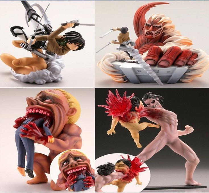4pcs/set Attack On Titan Shingeki No Kyojin Action Figure  Titan Battles Statue Model Toy