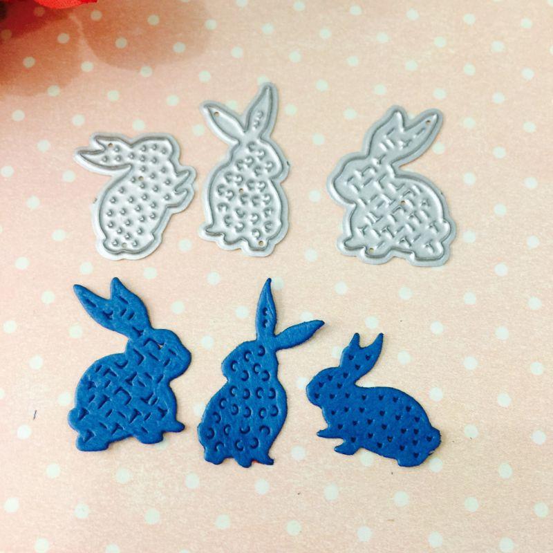3Pcs/Set Cute Rabbits Metal Cutting Dies Stencil DIY Scrapbooking Album Stamp Paper Card Embossing Crafts Decor