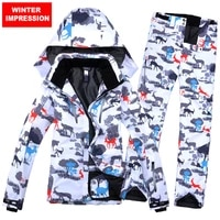 winter impression new ski suit ski jacket ski pant female snowboard set waterproof windproof breathbale winter warm clothing
