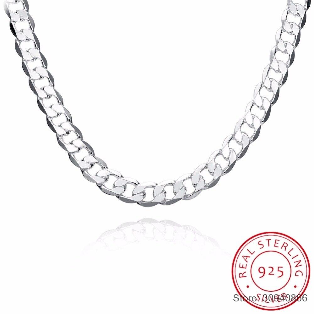 """SMTCAT para hombre de Plata de Ley 925 collar de cadena de declaración de 12mm 20 """"de moda de ley-plata-joyería para los mejores regalos masculinos"""