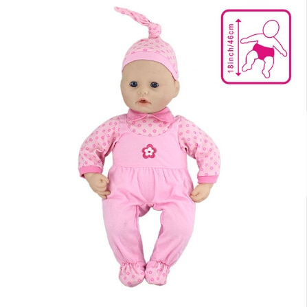 Pink Jumpsuits+hat  Set Doll Clothes Wear fit for 46cm/18nch baby doll, Children best Birthday Gift(