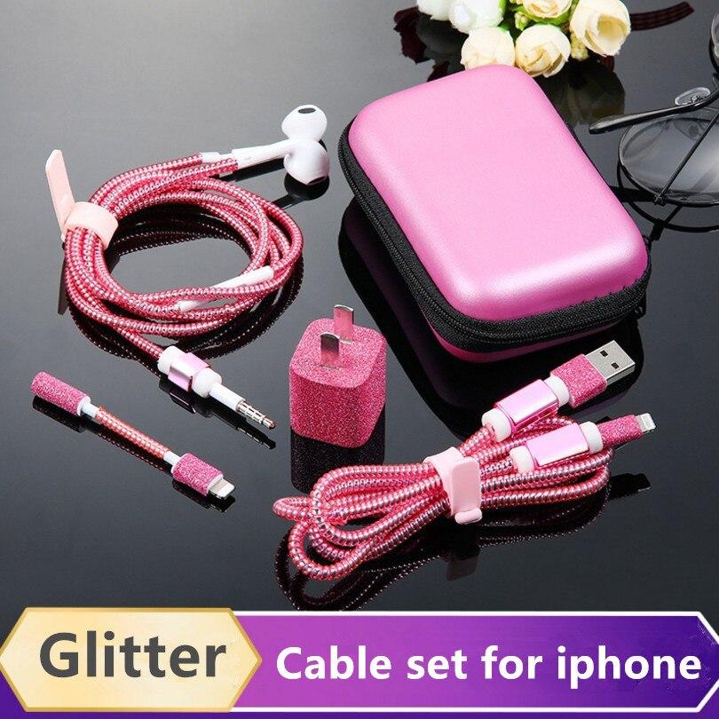 Cabo de eletroplate fone de ouvido protetor conjunto com cabo enrolador bling adesivos carregador usb cabo protetor para iphone 6 7 8 x